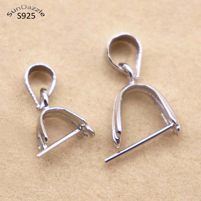 Solid 925 Sterling Silver Snap Pinch Pendant Bails for Jewellery Findings
