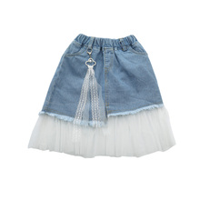 2019 Summer New Children Girl Clothing Lace Stitching Denim Skirt With Mesh Princess Tulle Pettiskirt For 2-16Y 2019 children girl skirts new fashion high quality spring kids denim jeans lace mesh pearl patchwork princess skirt for 2 7yrs
