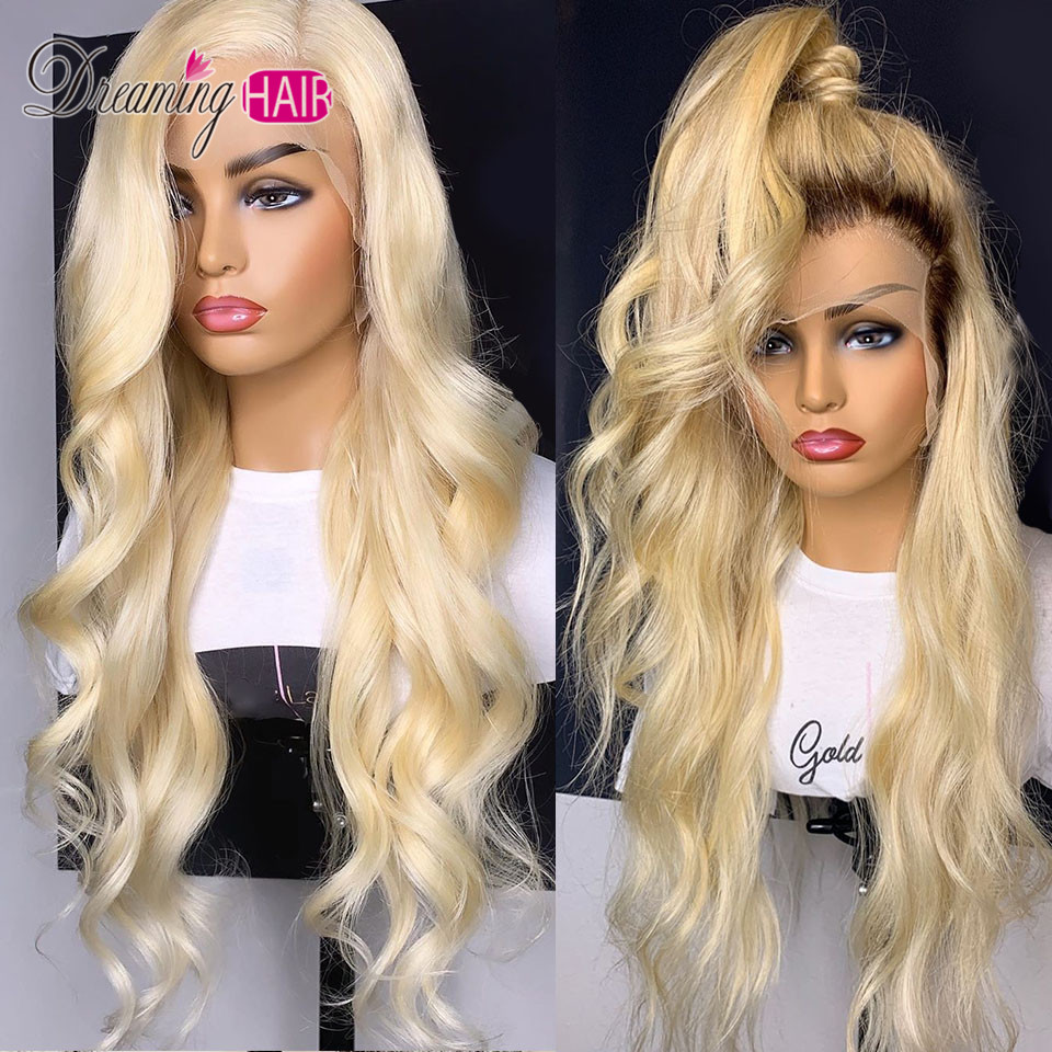 180% Density Brazilian Body Wave 613 Honey Blonde Lace Front Wig With Baby Hair 13x4 Remy Human Hair Wavy Wigs For Black Women
