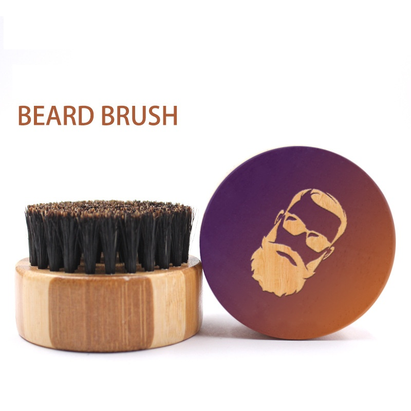 Mini Beard Brush Boar Bristles Mustache Natural Wood Comb Handmade Grooming Men Beards Mustache Care G0118
