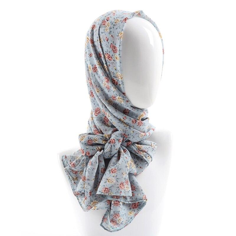 Women printed chiffon hijab scarf soft floral muslim chiffon hijab head scarf wraps new designs