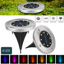 8 LED Colorful Discolor Light Solar Power Disk Lights Buried Street Security Ground Lamp Light-Controlled Path Way Gutter Christmas Garden Yard