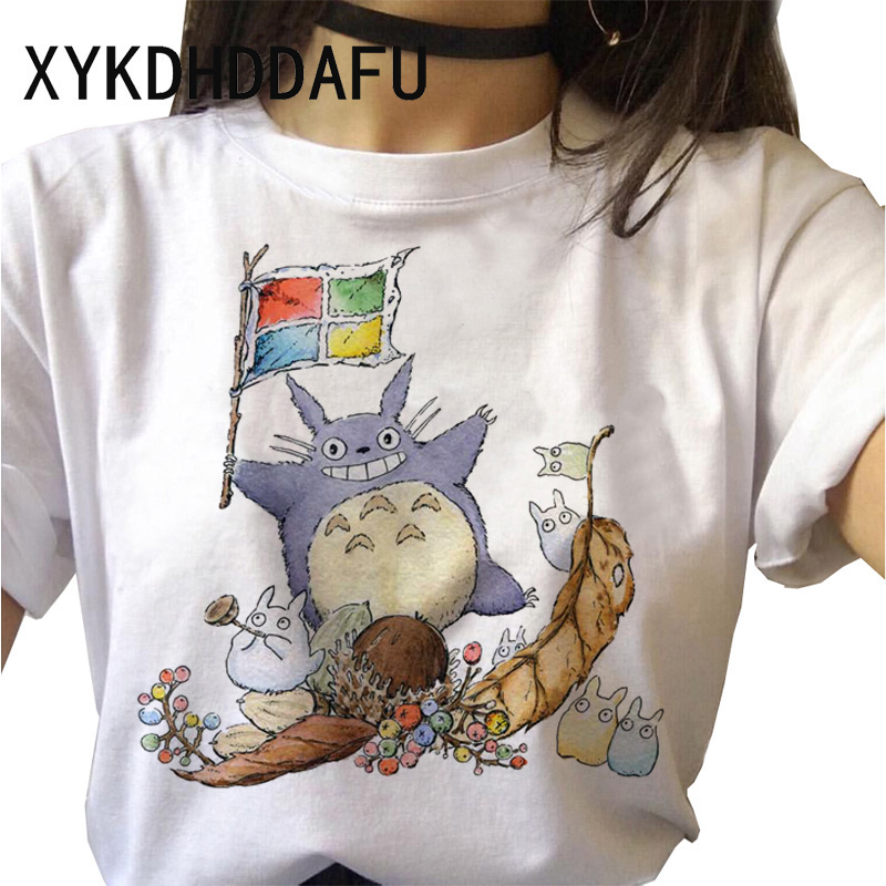 Hf57fbb3791cb425fb1d11e53828bb658k - Totoro T Shirt Women Kawaii Studio Ghibli Harajuku Tshirt Summer Clothes Cute Female ulzzang T-shirt Top Tee japanese Print