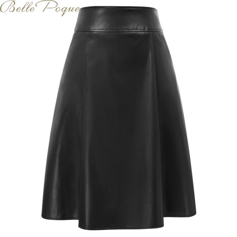 Belle Poque High Waist Pockets Leather Skirts Women Pleated Elegant Office Midi Skirts Female Elastic A Line Ladies Skirt
