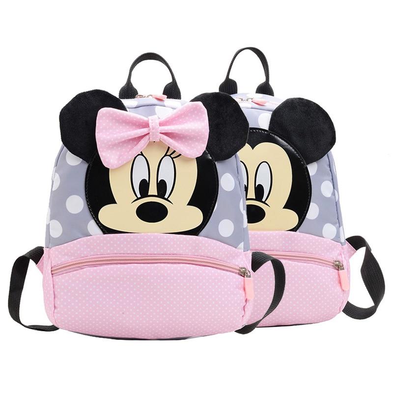 2-7 Yrs Baby Girls Backpack Plush School Bag Pink Mickey Minnie Bags Cartoon Children New Cute Kindergarten Travel Portable Bag