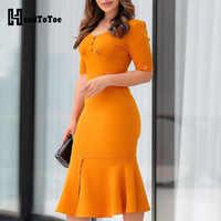 Design de botão sólido pep hem bodycon vestido feminino manga curta verão midi vestido senhoras casual escritório workwear vestidos amarelos