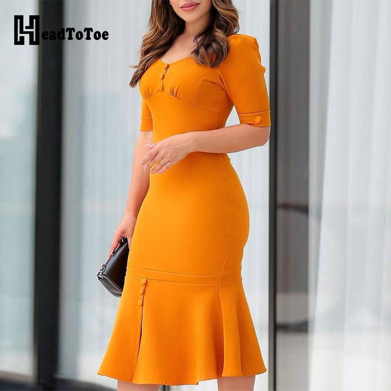 Solid Button Design Pep Hem Bodycon Dress Women Short Sleeve Summer Midi Dress Ladies Casual Office Workwear Yellow Dresses