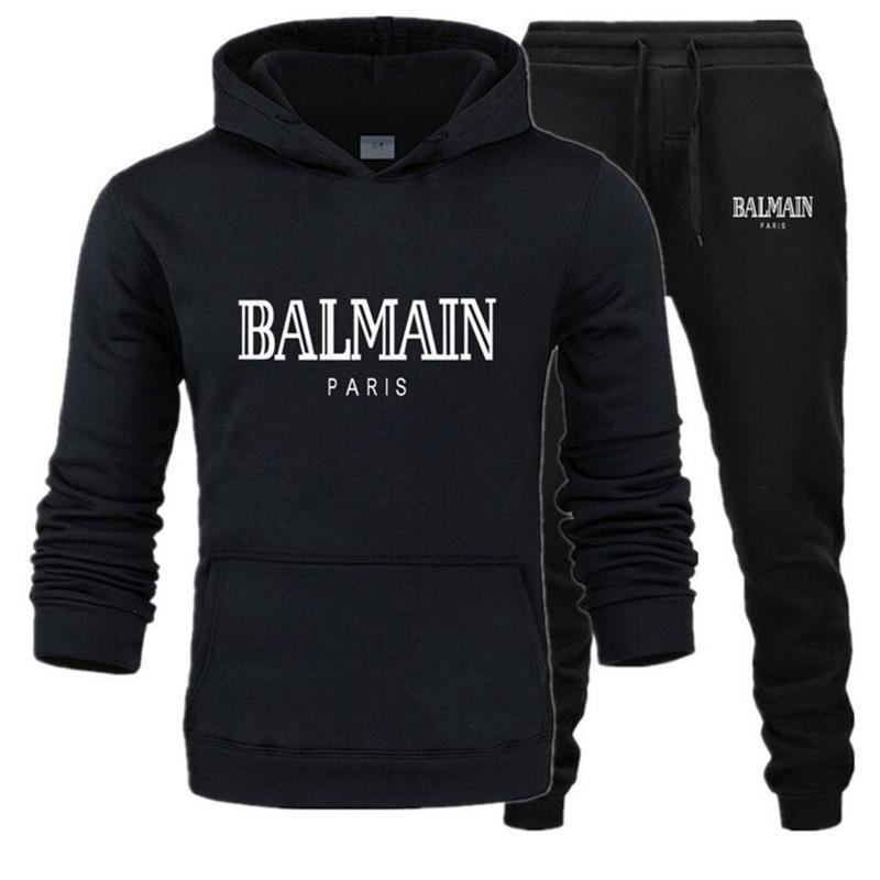 Men Sets Balmain Print Sweatsuit Tracksuit 2019 Brand Sporting Suit Trackssuit Male Sportswear Jackets Hoodie And Pants