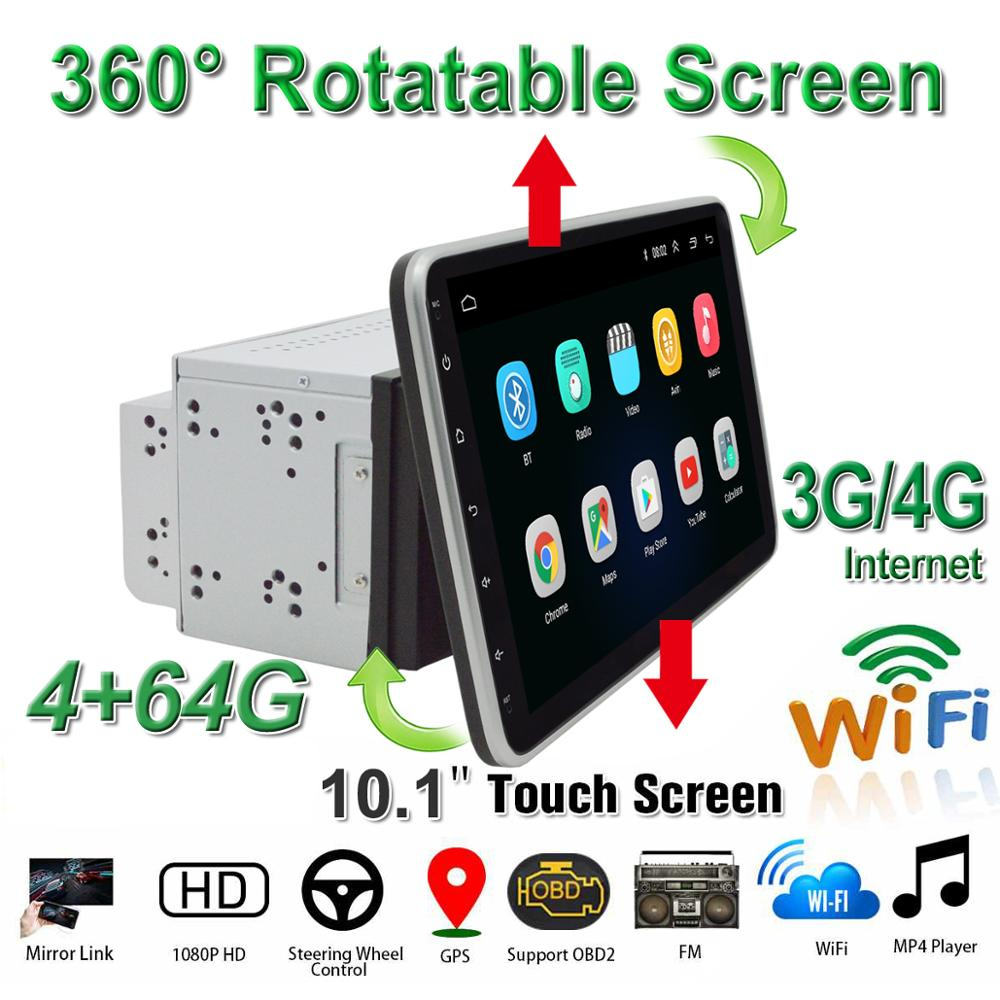 "<font><b>10.1</b></font>"" Car DVD Radio Stereo 2Din Android 8.1 Multimedia Player Radio Screen Video GPS with <font><b>360</b></font> Degree and WIFI/4G BT OBD2 image"