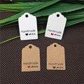 100 шт./лот, тег ручной работы из крафт-бумаги с надписью «Love» для подарочной коробки «сделай сам», тег для конфет и кексов, спасибо, бирки ручн...