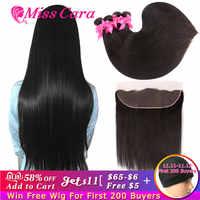 Mechones de pelo liso peruano con Frontal Miss Cara 100% cabello humano Remy 3/4 mechones con cierre Frontal 13*4 con mechones