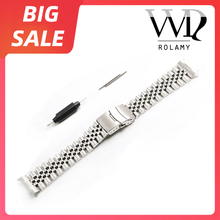 Rolamy 20 22mm Silver 316L Steel Watch Band VINTAGE Jubilee Bracelet Clasp Hollow Curved End Solid Screw Links For Rolex Seiko