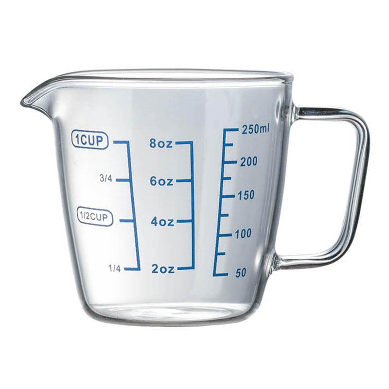 1PC 250ml Heat-resistant Glass Measuring Cup Childrens Milk Cup With Scale Microwave Measuring Cup Transparent Scale Cup