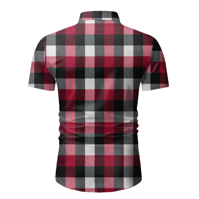 Red Plaid Shirt Men 2020 Summer Brand Classic Short Sleeve Dress Shirt Casual Button Down Office Workwear Chemise Homme M-3XL 4