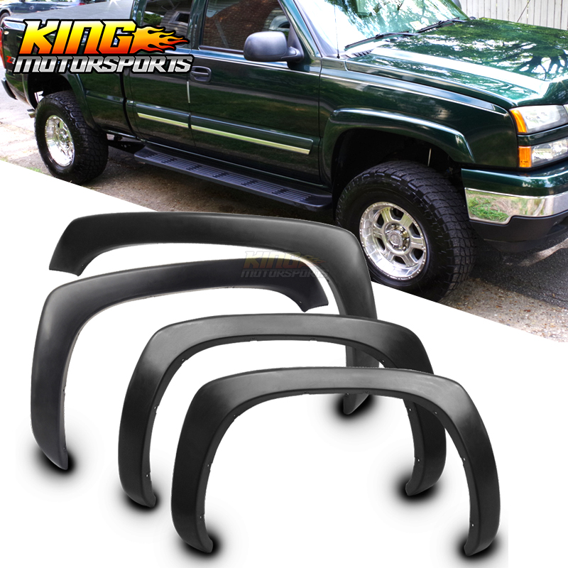 Fit For 99-06 Chevy Silverado GMC Sierra OE Style Fender Flares Wheel Cover Vent Smooth Unpainted Black PP