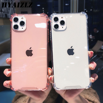 Transparent Shockproof Case for iPhone 11 Pro Max XS XR X 6S 6 7 8 Plus Clear Anti-knock Bumper Phone Shell Soft TPU Back Cover glitter powder holder phone case for iphone 11 x xr xs max 6 6s 7 8 plus transparent soft tpu wrist strap shockproof back cover