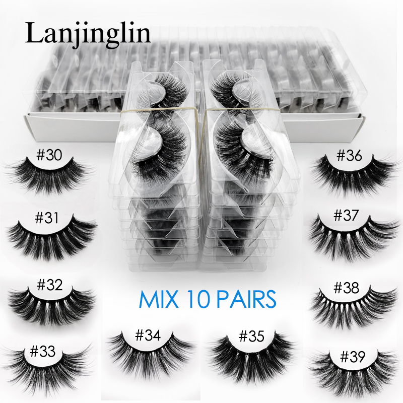 LANJINGLIN 10 Pairs Faux Mink Eyelashes Bulk Wholesale Natural Long False Eyelash Extension 3d Lashes Book Fluffy Soft Cilios