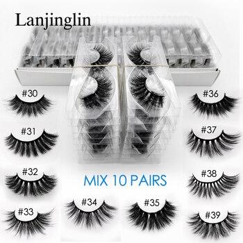 LANJINGLIN 10 pairs faux mink eyelashes bulk wholesale natural long false eyelash extension 3d lashes book fluffy soft cilios