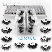 LANJINGLIN 10 pairs رموش منك صناعي بالجملة طبيعي طويل كاذبة رمش تمديد ثلاثية الأبعاد جلدة كتاب رقيق لينة cilios