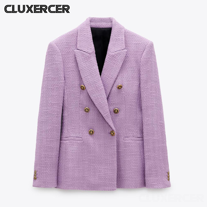 Spring Autumn Women Vintage Purple Tweed Blazers Jackets Elegant Office Solid Suit Coat Female Blazer Outwear Tops