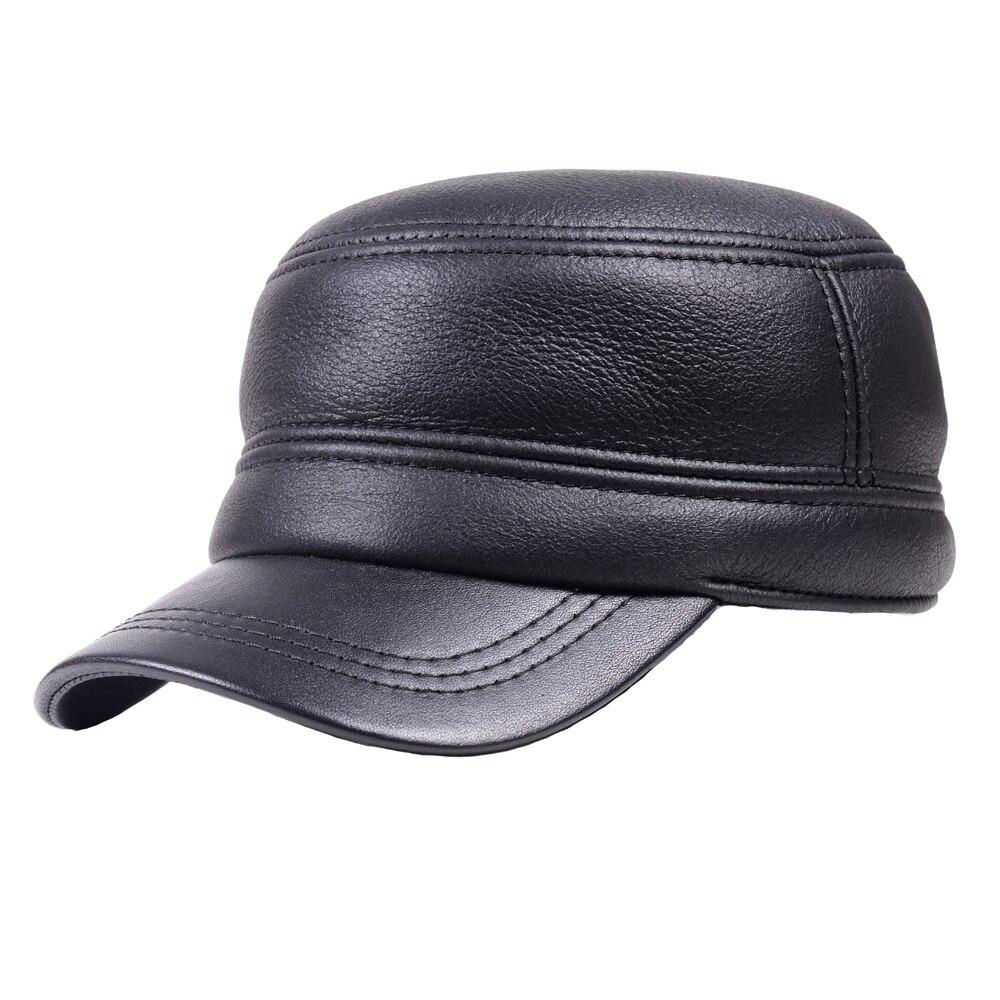 Hommes homme 100% vraie fourrure hiver chaud Casquette plate Casquette Casquette armée béret gavroche chapeaux/casquettes