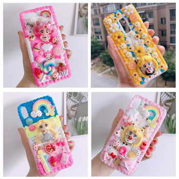 For iphone X/XS Max DIY case 3D sailor moon phone cover for iphone 8 7 6 6s plus XR handmade cream candy flower case girl gift