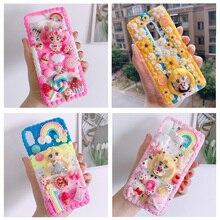 Voor iphone X/XS Max DIY case 3D sailor moon telefoon cover voor iphone 8 7 6 6s plus XR handgemaakte crème snoep bloem case gift meisje