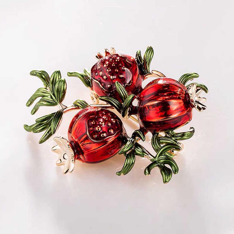 Wuli & baby spille in melograno smaltato rosso per donna frutta in lega matrimoni Casual spilla spille regali