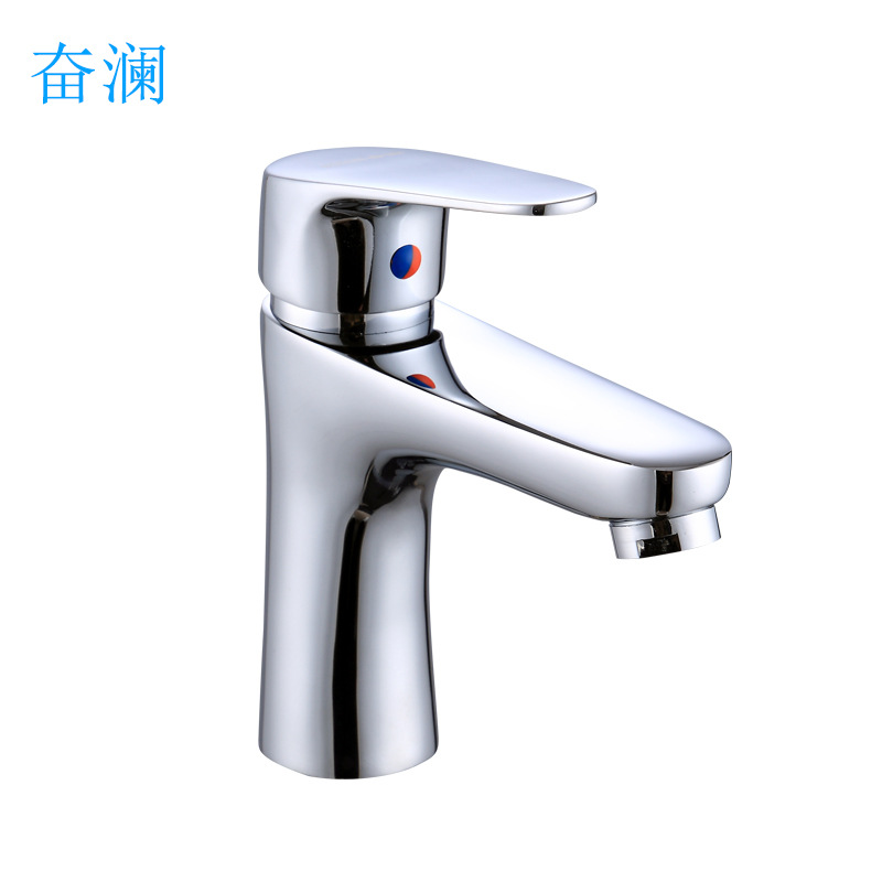 European Style Foreign Trade Complete Copper Electroplated Basin Hot And Cold Faucet Kitchen Washbasin Single Bore Duplex Tap Ma