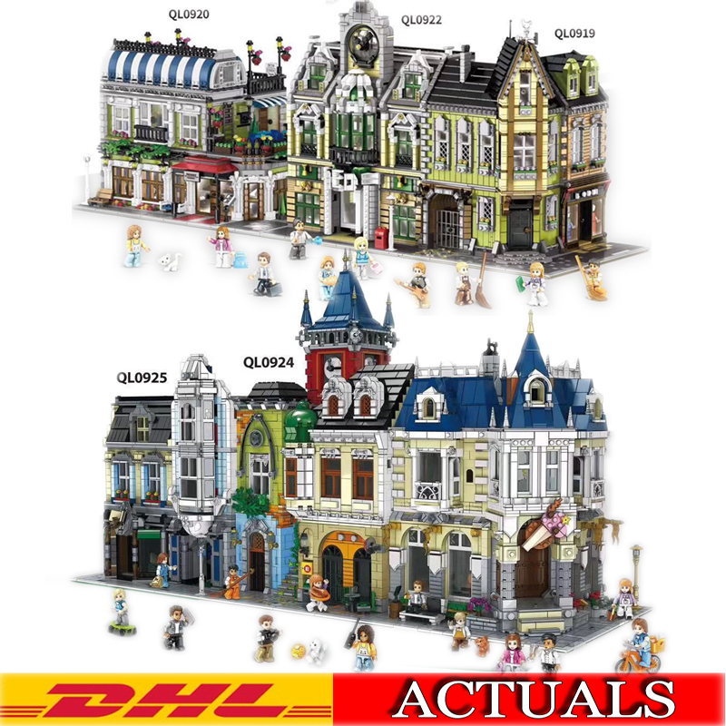 2020 MOC City Street View Corner Mall Romantic Restaurant Old Pub European Mall Model Building Kits Blocks Bricks Kids Toys Gift