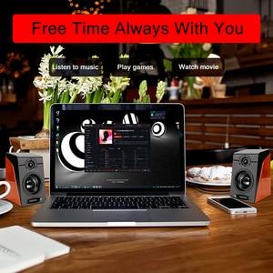 Image 3 - Проводные USB колонки под дерево, бас, стерео сабвуфер, звуковая коробка, вход AUX, компьютерные колонки для настольных ПК телефонов