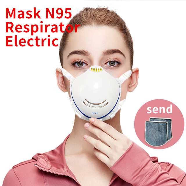 Electric Mask N95 Respirator Automatic Air Supply Filter Pm2.5 Earrings Masks Anti Dust Filter Air Influenza Prevent Flu White