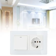New EU Standard Wall Socket Grounded Hidden Soft LED On/Off Light Switch PC Panel with 2 USB Charge Port for Home Use livolo new power socket eu standard cherry wood outlet panel 2gang wall sockets with touch switch c701 21 c7c2eu 21