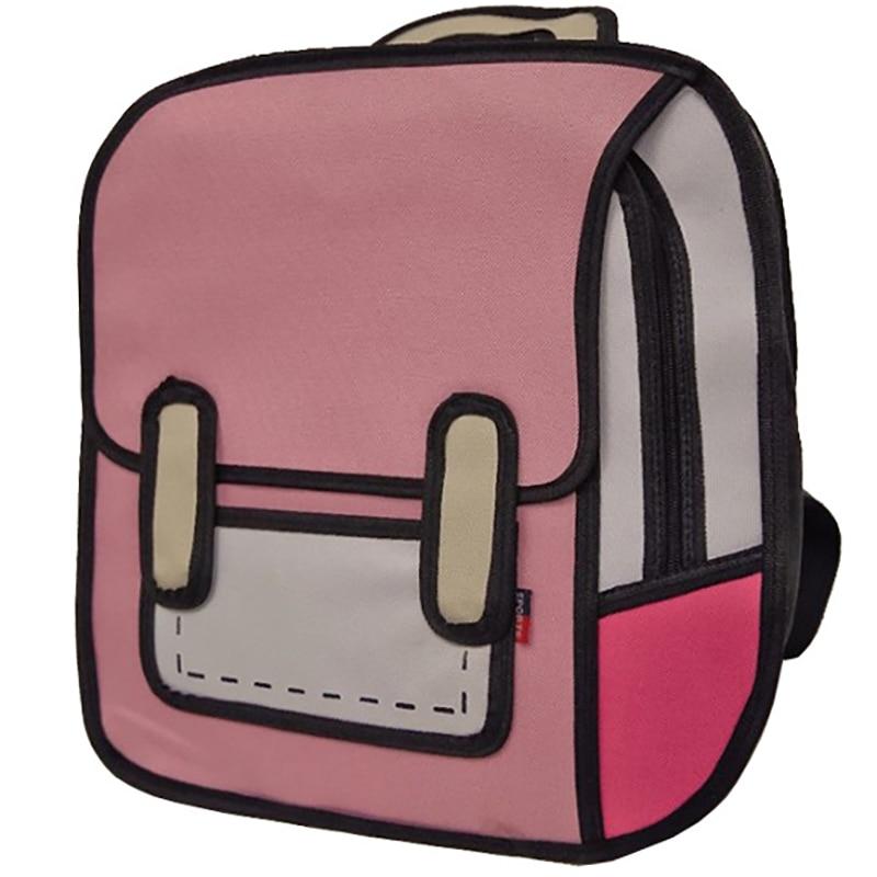 Fashion Womens Backpack Creative 2D Drawing Backpacks 3D Jump Style Cartoon School Bag for Girls Traval Rucksack Mochila Mujer