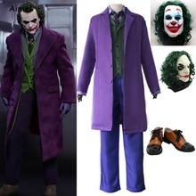 Halloween Batman Joker Horror Party Cosplay Dark Knight Heath Ledger Joker Paars Trenchcoat Kostuum Clown Schoenen Masker Volwassen Kid
