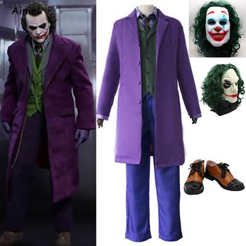 Halloween Batman Joker impreza o motywie horroru Cosplay mroczny rycerz Heath Ledger Joker fioletowy trencz kostium Clown buty maska dorosły dzieciak tanie i dobre opinie Ainiel Zestawy Spodnie Kamizelka Wykop Kurtki Garnitury Film i TELEWIZJA Unisex Dla dorosłych Other Poliester A-200 Kostiumy