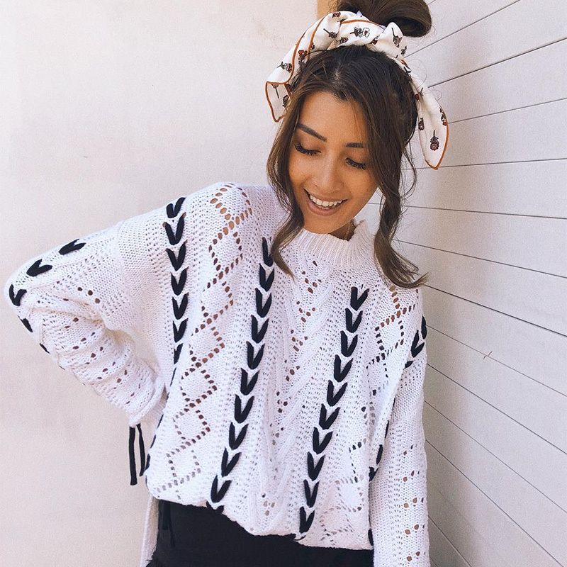 Automne chandail, pour les femmes portant des vêtements en dentelle de mode contraste avec les femmes portant chandail tricoté desserrer col rond chandail 2019