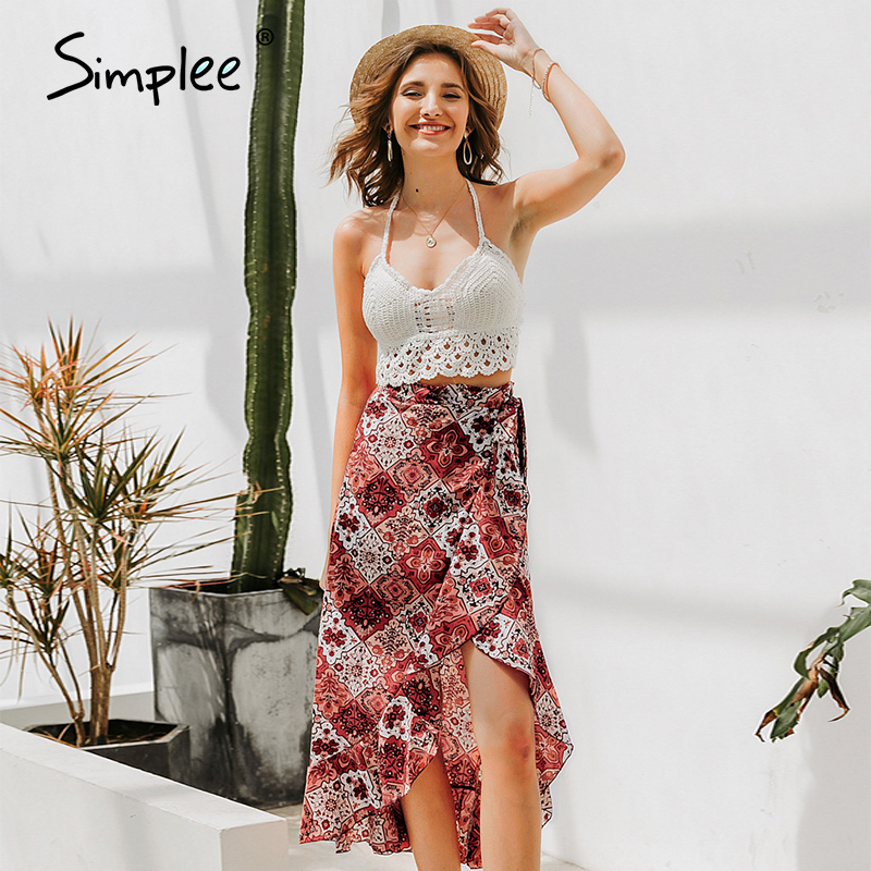 Simplee Sexy High Split Summer Skirt Women Ruffled High Waist Floral Print Female Midi Skirt Vintage Beach Wear Ladies Skirt