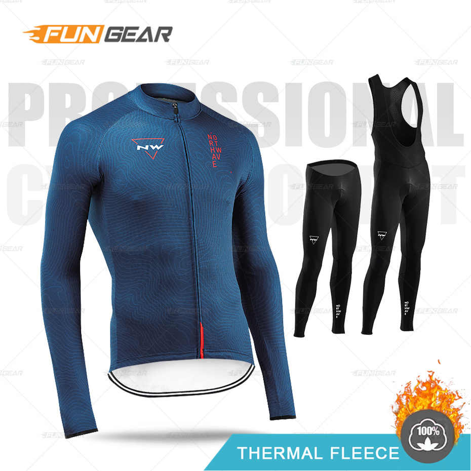 Northwave Winter Cycling Clothing Long Sleeve Jersey NW Mens Pro Team Warm Jacket Set MTB Clothes Thermal Fleece Ropa Ciclismo