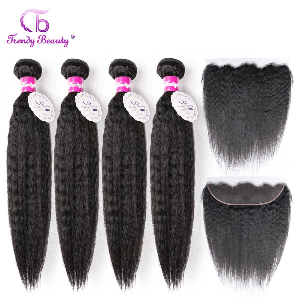 Trendy Beauty Kinky Straight Brazilian Hair Weave Bundles with Frontal Non-remy Human Hair 4 Bundles and Lace Frontal 5Pc/Lot