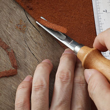 3 adet DIY deri el sanatları kenar Beveler Skiving Beveling bıçak kesme el sanatları aracı ahşap saplı A4mm A6mm A8mm
