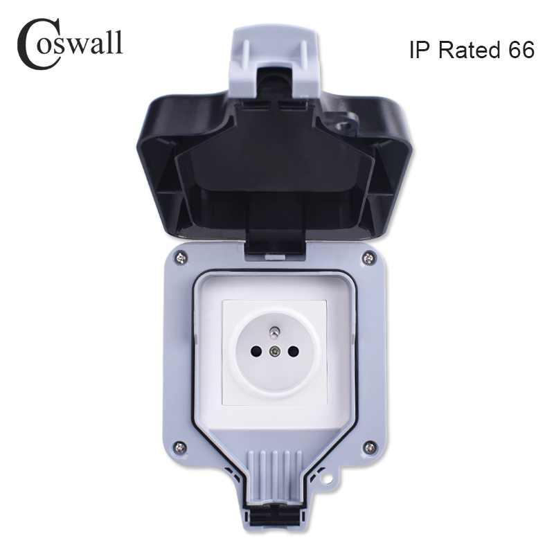 Coswall IP66 Weatherproof Waterproof Outdoor Wall Power Socket 16A French Standard Electrical Outlet Grounded AC 110 250V