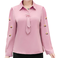 Women Smart Casual Shirts Pink Green Small Insect Pattern Tie Knot Design Turn Down Collar Blouses Office Lady Autumn Spring Top