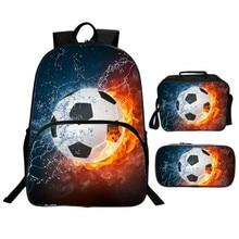 3pcs / Set Kids School Bags 3D Fire Hot Water Soccer Footbal