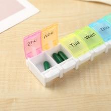 Caixa de pílula colorida medicina organizador 7 dias comprimidos semanais caixa tablet titular armazenamento caso medicina recipiente de droga