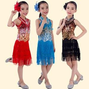 Image 3 - Dança latina crianças adulto sequin franja palco desempenho competição dança de salão traje dança latina vestido para meninas