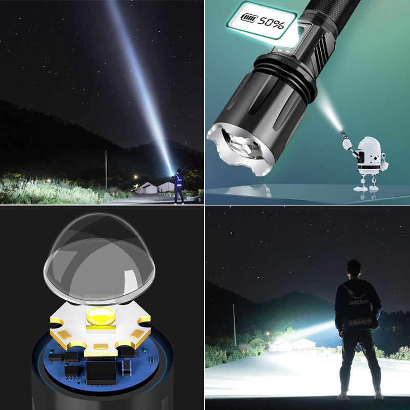 XHP90.2 LED Flashlight Torch Tactical powerful light Rechargeable 18650 26650 Battery Zoomable waterproof Lamp xhp70 for camping