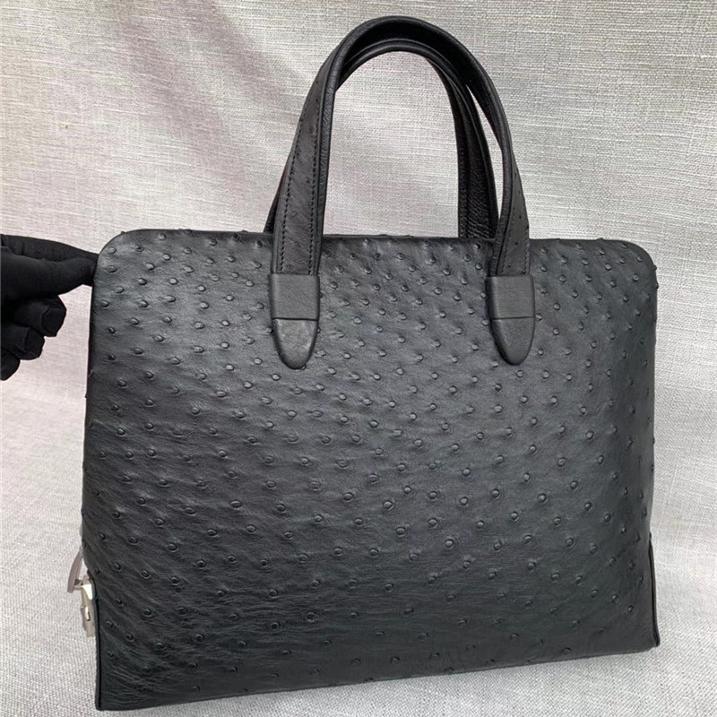 Authentic Ostrich Skin Coded Closure Businessmen Briefcase Handbag Exotic Genuine Leather Male Large Top-handle Working Purse