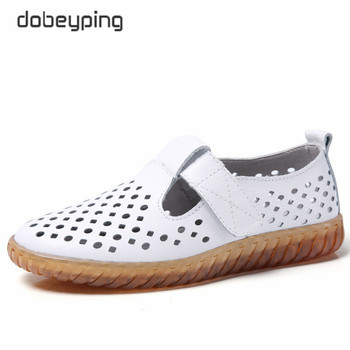 цена на 2020 Spring Summer Women Flats Woman Genuine Leather Shoes Women's Cutout Loafers Slip On Ballet Footwear Breathable Female Shoe