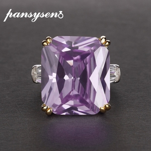 Image 2 - PANSYSEN Charms 14x16mm Amethyst Gemstone Rings For Women Men Genuine 925 Sterling Silver Engagement Finger Ring Fine Jewelry